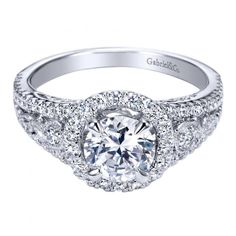 1.25cttw Pave Round Diamond Engagement Ring with Split Shank