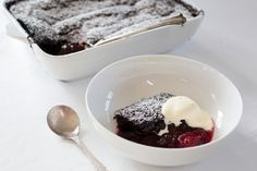 Self-saucing chocolate and black doris plum pudding - this will be delicious with a few substituted ingredients to make it gluten free. One of my fave puddings of all time - haven't tried the black doris plums though!