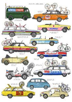 """bisign: """"Bicycle race support vehicles (vía 24e9dcb9bb10efdc14ab93ae1b0b6a16.jpg (500×707)) """""""