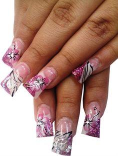 Hand Painted Pink, Black and White Nails by ShebaNails - Nail Art Gallery nailartgallery.nailsmag.com by Nails Magazine www.nailsmag.com #nailart