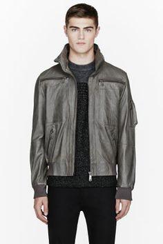 MCQ ALEXANDER MCQUEEN Grey leather bomber