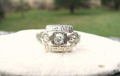 Art Deco Diamond Ring Old Mine Cut Diamonds Flower by Franziska, $548.00
