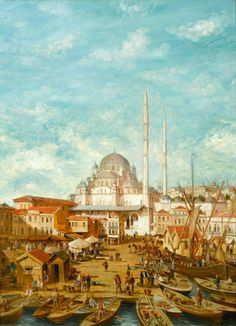 In this wonderful depiction of nineteenth-century Constantinople, the Yeni Cami Mosque stands majestically, its minarets stretching upwards towards the billowi Drawing Scenery, Scenery Paintings, Istanbul, Empire Ottoman, Islamic Paintings, Hagia Sophia, Turkish Art, Islamic Pictures, Watercolor Portraits