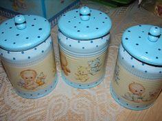 Kit para bebê,potinhos feitos com latinhas - Pesquisa Google