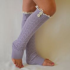 Lilac knit lace leg warmers with lace trim and buttons lace leg warmers boot socks birthday gifts women's fashion christmas gifts