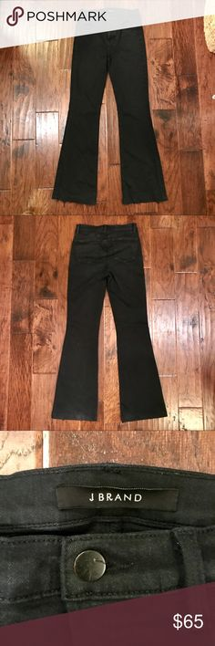J Brand Maria High-Rise Flare Leg Fade Resistant J Brand High Rose Flare - Worn between 10-12 times Color/Pattern: Seriously Black Inseam Approximately 35in 10in Front Rise; 13in Back Rise Leg Opening Has An Approximate 20in Circumference Measurement Was Taken From A Size 26 And May Vary Slightly By Size Design Details: Stretch Design, Belt Loops, Classic Five-Pocket Style Zip Fly With Button Closure 43% Viscose, 33% Cotton, 17% Lyocell, 5% Polyester, 2% Elastane Machine Wash Imported See…