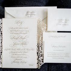 Formal White Invitation Suite | Brian Dorsey Studios | TheKnot.com