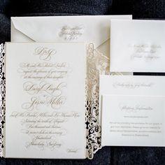 Formal White Invitation Suite | Brian Dorsey Studios | TheKnot.com