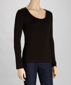 Take a look at this Black Scoop Neck Tee by Zenana on #zulily today!