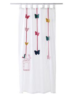 Kindervorhang mit Girlanden , Farbe: Weiß , Größe: 105 x 180 cm: Amazon.de: Küche & Haushalt