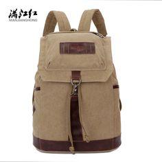 26.00$  Watch now  - String+Hook Closing Pockets Canvas Male Bag School Bag Man's Bag Cotton Canvas Mochila Discount Sale 1284
