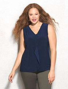 roz & ALI™ Plus Size Ruffle V-Neck Tank Layered Tops, Layering, Ali, Plus Size, V Neck, Women's Fashion, Clothing, Outfits, Kleding