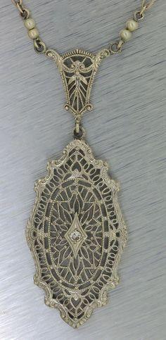 Antique Art Deco 1920s Filigree 14K White Gold Diamond Chain Necklace Pendant #Pendant