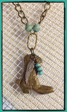 Kick up your heels with this solid brass Cowboy boot necklace!  Junk Drawer Gypsy Jewelry by LjBlock Designs