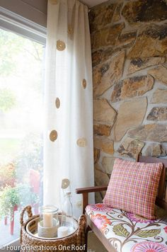 New ! The Perfect Spring Summer Timeless No Sew DIY White Burlap Curtains for $8.00 Dollars ! a Panel by @Mandy Bryant Bryant Dewey Generations One Roof (I have personally made several sets of the solid burlap version of these curtains for a non profit agency I work with locally.  And They were so easy to make..and turned out beautifully every time !)