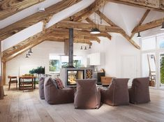 A slanted ceiling gives even the most cramped space an almost ethereal feel. Retro Living Rooms, Mid Century Modern Living Room, Living Room Modern, Attic Bedroom Designs, Attic Design, Sitting Room Decor, Lounge Decor, Living Room Inspiration, Interior Design Inspiration