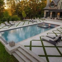 Explore our gallery of 20 Geometric Swimming Pool Designs by top pool builders and designers. Get ideas for building and designing a luxury pool in your backyard. Cool Swimming Pools, Swimming Pool Designs, Lap Pools, Indoor Pools, Backyard Pool Designs, Backyard Patio, Backyard Landscaping, Landscaping Ideas, Patio Ideas