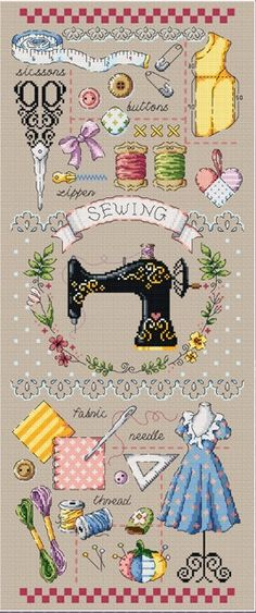 Sewing room cross stitch pattern or kit by SodaStitch, 14 CT cross stitch kit, sewing machine, tailor, sewing accessories, sewing motifs