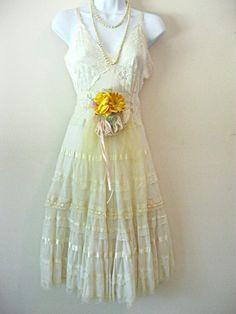 Buttercream vintage slip wedding dress Short 38 by LilyWhitepad. , via Etsy.