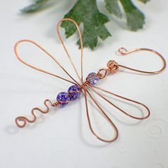 Dragonfly ornament copper glass purple violet suncatcher