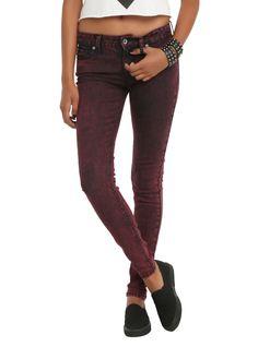 Burgundy Acid Wash Skinny Jeans.  Yes please!