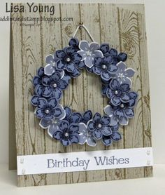 Petite Petals Wreath is part of Stampin up birthday cards - wood Color Background Stampin Up Petite Petals Wreath Stampin Up Karten, Stamping Up Cards, Pretty Cards, Happy Birthday Cards, Creative Cards, Flower Cards, Greeting Cards Handmade, Scrapbook Cards, Homemade Cards