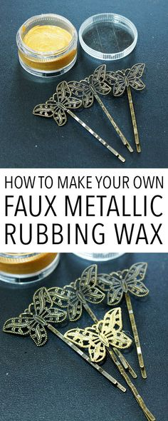 How to Make Faux Metallic Rubbing Wax! Graphics Fairy. Great technique! I love making my own Craft Supplies, this recipe is great for adding metallic touches to DIY Home Decor Projects and Crafts!