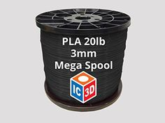 IC3D High Quality Black 3mm PLA 3D Printer Filament Mega Spool (20lbs) - Dimensional Accuracy  /- 0.05mm - Professional Grade 3D Printing Filament - MADE IN USA *** Check this awesome product by going to the link at the image.