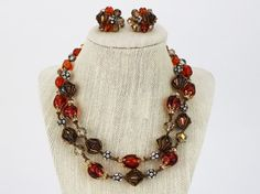 Vendome Amber Necklace and Earrings  Glass by TheBirdcageVintage