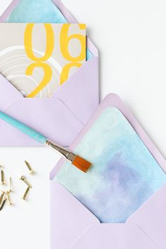 DIY Watercolor Envelope Liners How To Make An Envelope, Diy Envelope, Envelope Liners, Crafts To Make And Sell, Easy Diy Crafts, Craft Tutorials, Craft Projects, Project Ideas, Craft Ideas