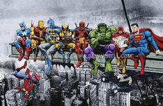 Marvel DC Superheroes Meet-Up Mounted Canvas Wall Art Captain America Iron Man Batman Wolverine Deadpool Hulk Flash Superman Venom Marvel Dc Comics, Ms Marvel, Marvel And Dc Superheroes, Bd Comics, Marvel Heroes, Famous Superheroes, Disney Marvel, Captain Marvel, Marvel Avengers