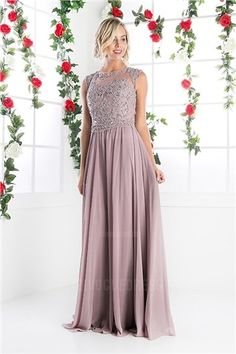 A-Line/Princess Jewel Sweep/Brush Train Chiffon Mother of the Bride Dress