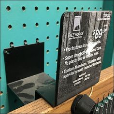 Obviously this Treeworks Chime Heavy-Duty Pegboard Mount has only one use and one product to serve. The front face of this flat metal mount provides label Kitchen Organization, Hooks, Retail, Kitchen Organizers, Wall Hooks, Sleeve, Crocheting, Retail Merchandising