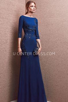 $150.89-Classy Lesley Blue Jewel Neck Sheath Evening Gown with Short Sleeves. http://www.ucenterdress.com/lovely-lesley-prom-dress-pMK_301645.html.  Shop for affordable evening gowns, prom dresses, white dresses, party dresses for women, little black dresses, long dresses, casual dresses, designer dresses, occasion dresses, formal gowns, cocktail dresses . We have great 2016 Evening Gowns on sale now. #evening #gowns