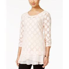 Style & Co. Polka-Dot Lace Tunic, ($44) ❤ liked on Polyvore featuring tops, tunics, pink bliss, lace top, pink top, polka dot top, pink tunic and pink polka dot top