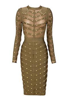Clothing : Bandage Dresses : 'Kaori' Khaki Studded Bandage and Mesh Dress
