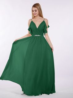 1e08ef76a8f Babaroni Gill Spaghetti Strap Chiffon Dress with V-neck Chiffon Dress