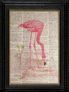 Flamingo-Vintage Illustration-Book Print- Upcycled Dictionary Art Page---Fits 8x10 Mat or Frame on Etsy, $6.99