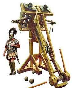 The ballista, plural ballistae, was an ancient missile weapon that launched a large projectile at a distant target. Developed from earlier Greek weapons, it relied upon different mechanics, using two levers with torsion springs instead of a prod, the springs consisting of several loops of twisted skeins. Early versions projected heavy darts or spherical stone projectiles of various sizes for siege warfare. It developed into a smaller sniper weapon, the scorpio, and possibly the polybolos.