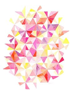 Handmade Watercolor Abstract Triangles in Red, Pink, Orange Kaleidoscope- 8x10 Wall Art Watercolor Print. $20.00, via Etsy.