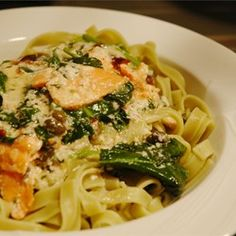 Salmon and Spinach Fettuccine - Allrecipes.com