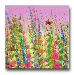 Meadow original painting on canvas wild flowers by JuliaSadehArt, £49.95