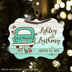 Christmas ornament, newlywed 1st Christmas personalized ornament