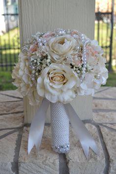 Ivory & Blush Peony Bridal Bouquet Silk Wedding by MyDayBouquet, $125.00