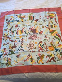HERMES Auth Silk Scarf Carre Din tini ya zue Mauve Light Blue Mint Otomi #HERMES #Scarf