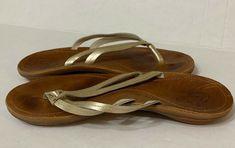 85fbd6d80fb83f Women s used Olukai Haiku Leather stitched thong flip flops sandals size 10   fashion  clothing
