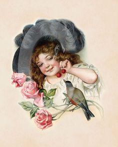 Girl and bird, Maud Humphrey