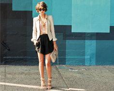 sunglasses, blazer, shorts, hair, all of it!