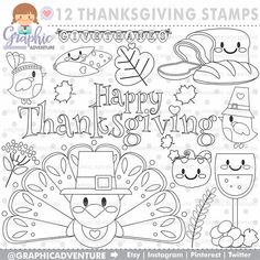 Best Awesome Thanksgiving Graphic Designs That Inspire - Awesome Indoor & Outdoor Planner Stickers, Daisy, Thanksgiving Coloring Pages, Turkey Craft, Clip Art, Scrapbooking, Animal Coloring Pages, Illustrations, Digi Stamps