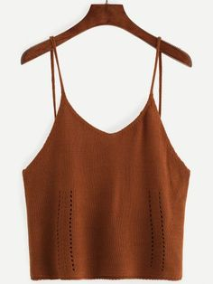 Coffee Hollow Out Knit Cami Top